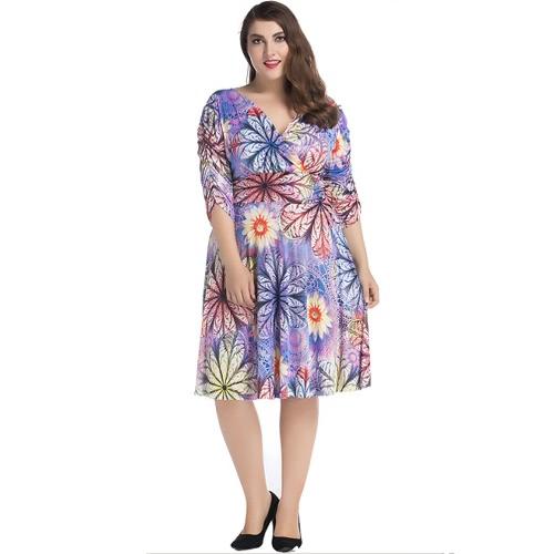 New Summer Women Sexy V Neck Floral Print Vestido Midi Ruched Half Sleeve Vestido plissado Purple