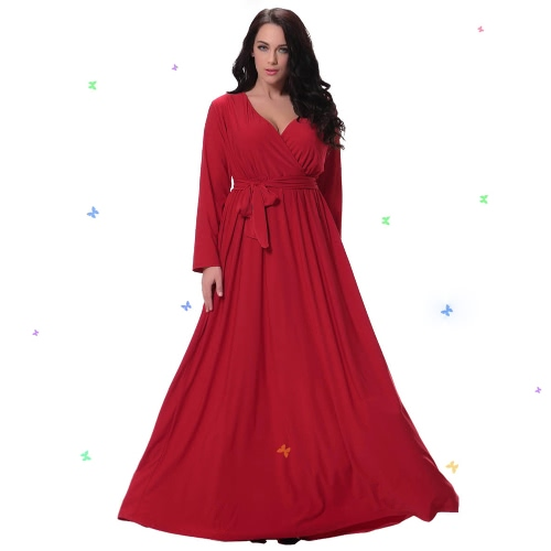 Frauen Plus Size Maxi Kleid Sexy V Neck Langarm Solid Gürtel Cocktail Party Kleid Swing Langes Kleid Rot