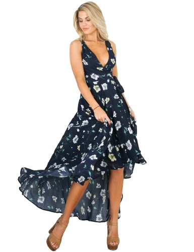 Sexy Women Maxi Dress Mergulhe V Floral Print Sem mangas High Low Hem Beach Holiday Boho Long Chiffon Dress Dark Blue