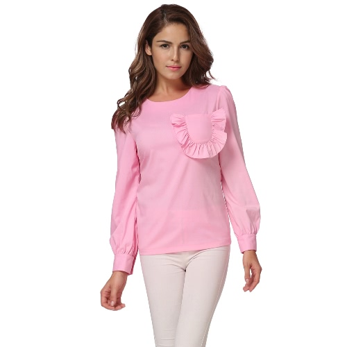 Mulheres Ruffles Blusa de bolso Manga comprida Puff O Neck Back Zipper Fitted Elegant Casual Shirt Tops Pink