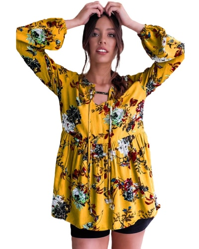 New Women Floral Print Blouse Vintage Autumn Clothing Lantern Sleeve Loose Cotton Boho Tops Yellow