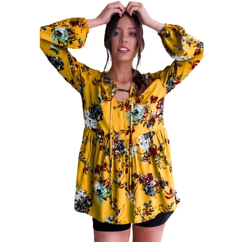 Nueva blusa de la impresión floral de las mujeres El otoño de la vendimia que arropa la manga de la linterna el algodón flojo Boho remata amarillo