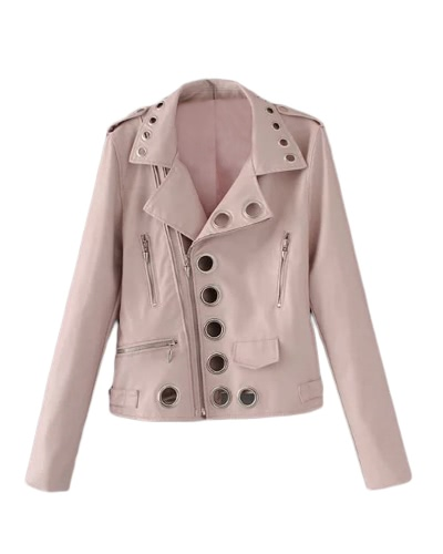 Women Autumn Hollow Out Leather Motorcycle Jacket Slim Style Long Sleeve Hole Short Outerwear Coat Black/Pink/Blue