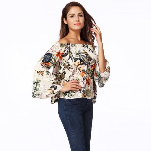 Mulheres Off Shoulder Blusa Shirt Floral Print Flare Sleeve Slash Neck Casual Loose Top Verde
