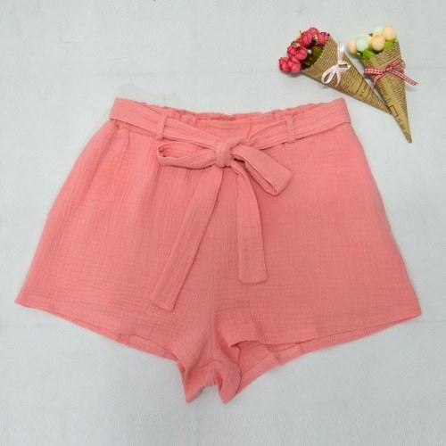 Nowe kobiety mody Elastyczne wysokie szorty talii Bowknot Sash Szorty streetwear różowe / żółte
