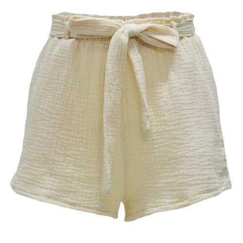 Nueva cintura elástica de las nuevas mujeres de la manera pone en cortocircuito los cortocircuitos del marco del Bowknot Streetwear rosado / amarillo
