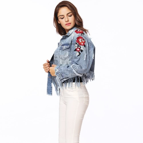 Women Denim Jacket Floral Embroidery Ripped Fringe Long Sleeve Casual Loose Jeans Coat Outerwear Blue