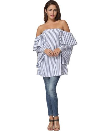 Nowi Moda Kobiety Stripe Blouse Z Bliska Naramienisty Slash Warstwy Flare Rękawa Loose Boho Topy Białe