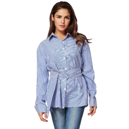 New Fashion Women Striped Camisa de manga comprida para baixo Camisa Turn-Down Collar Loose Lady Blouse Tops com cinto azul