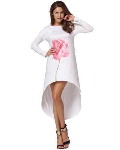 Manga comprida Outono Mulheres Vestido solto Sólido Irregular Hem Print Casual T-Shirt Vestido branco