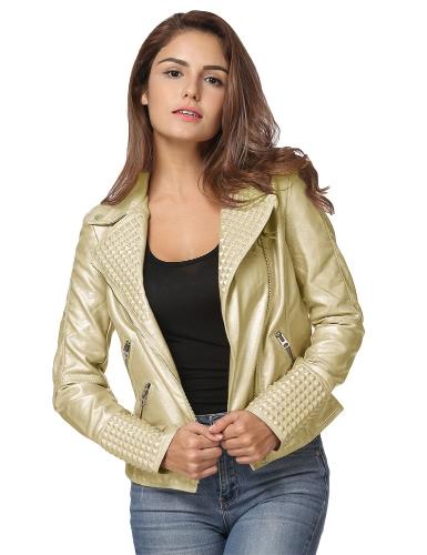 Fashion Women Autumn PU Leather Jacket Rivet Motorcycle Biker Zip Coat Faux Leather Street Jaqueta Outerwear