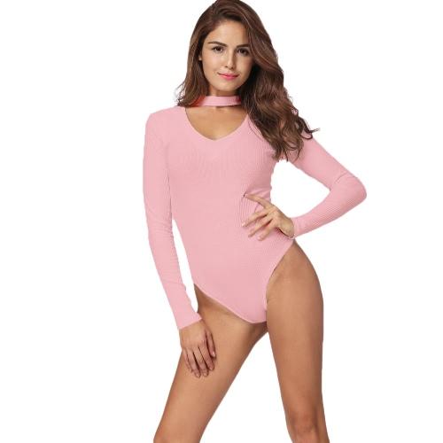 Jumpsuit Mujeres Atractivas con nervaduras de color sólido V-cuello de manga larga cremallera Beach Bodysuit Rompers