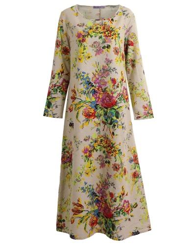 Weinlese-Frauen-Maxi-Blumenkleid-lange Hülsen-Taschen O-Ansatz plus Größen-Baumwollleinen-lose Robe-Kleid