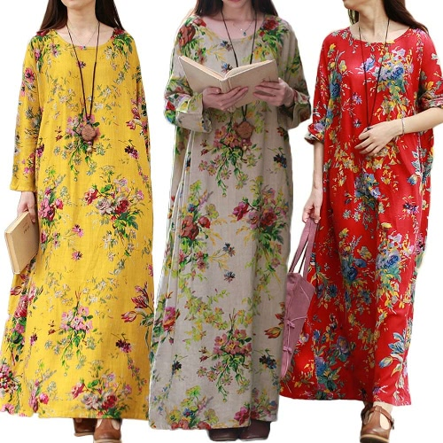 Vintage Women Maxi Floral Dress Long Sleeves Pockets O Neck Plus Size Cotton Linen Loose Robe Dress