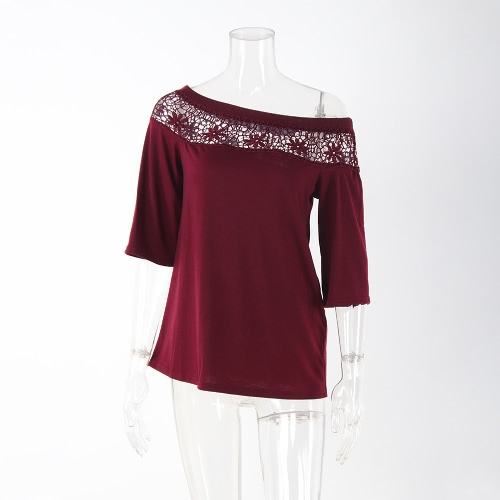 T-Shirt Mujeres verano ocasional ganchillo empalme ahuecar una camiseta de hombro