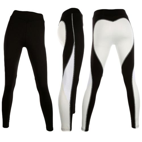 Sexy Mujeres Slim Leggings Deporte Yoga Contraste Color Splice Casual Fitness Skinny Lápiz Pantalones Pantalones