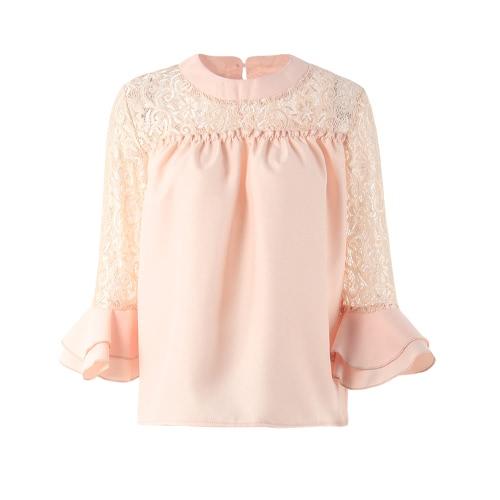 Mujeres Blusa de gasa camisa Sheer Lace recortado O-cuello Ruffle Flare manga Solid Casual suelta Top