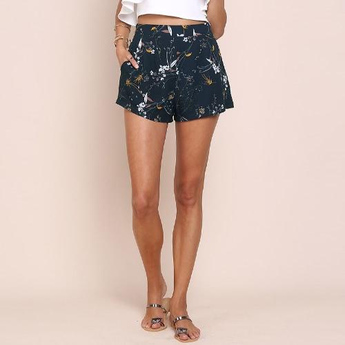 Moda Floral Print High Cintura bolsos laterais Zipper Slim Shorts Mulher