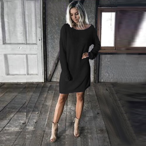 Vintage Mulheres Tricotado Straight Dress Sólido Dropped Long Batwing Sleeve Round Neck Mini Loose One-Piece