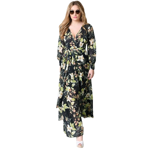 Vestido largo de gasa de las mujeres atractivas con estampado floral Vestido largo con cuello en V de manga larga delgado con cinturón elegante