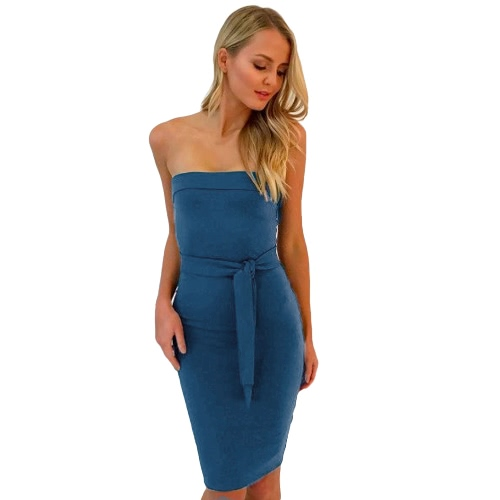 Women Sexy Cocktail Bodycon Casual Clubwear Knee Length Party Dress Strapless Backless Dress