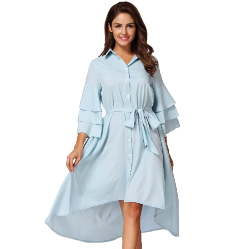 Las nuevas mujeres de la manera acodaron la camisa irregular de la manga de la colmena Asymmetric Hem vestido sólido relajado azul claro
