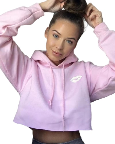 Neue Frauen Kurz Kapuzen Sweatshirt Mantel Oberbekleidung Kapuzenjacke Herbst Winter Tops Pink / Grau / Schwarz