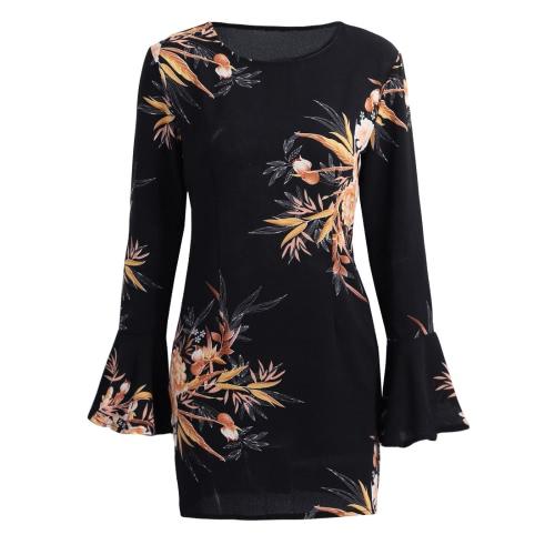 Moda florales mangas princesa flare cuello redondo cremallera vestido de las mujeres de la cintura