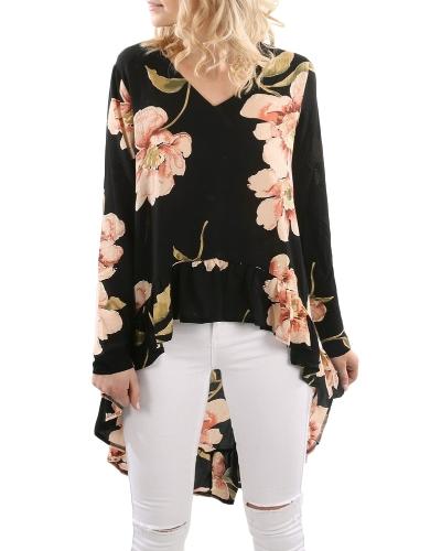 Nowa jesienna bluzka damska kwiatowy print ruffles wysoki-niski dekolt w serek z długim rękawem Casual Vintage Top