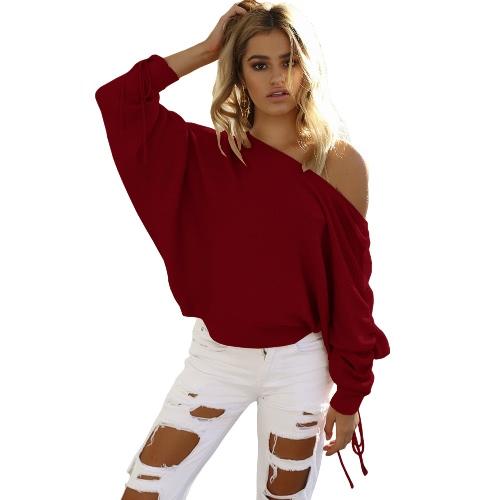 Neue Frauen strickte Pullover aus Schulter Pullover Pullover Drawstring lange Ärmel Casual Loose Strickwaren Tops