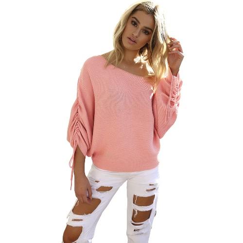 Las nuevas mujeres hicieron punto el suéter apagado del suéter del suéter que empujaba el cordón de la manga larga ocasional rematan los tejidos flojos del Knitwear
