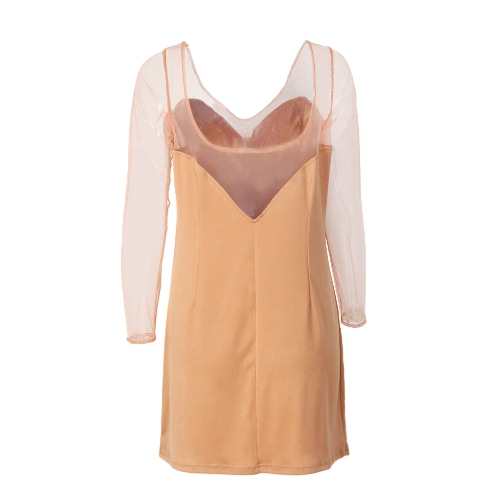 Vestido de Club Sexy Solid Semi-sheer Malla Bodycon Deep V Neck Backless Slim Cami Mini Dress