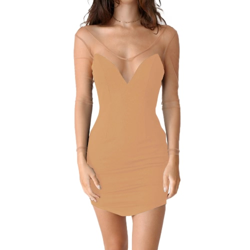 Sexy Club Dress Solid Semi-sheer Mesh Bodycon Deep V Neck Backless Slim Cami Mini Dress