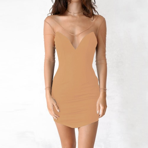 Sexy Club Dress Solid Semi-sheer Mesh Bodycon Deep V Neck Backless Slim Cami Mini-Vestido