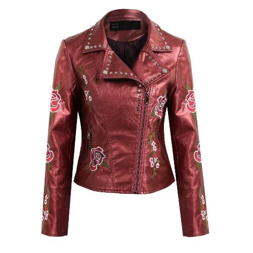 Fashion Women Embroidery Flower PU Faux Leather Jacket Coat Zipper Basic Moto Jacket Outerwear