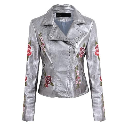 Mode Frauen Stickerei Blume PU Faux Leder Jacke Mantel Reißverschluss Basic Moto Jacke Oberbekleidung