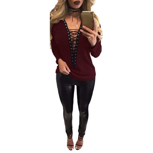 Mujeres Lace Up Camiseta Deep V-Neck Hollow Out Top Manga Larga Ojal Casual Top Basic