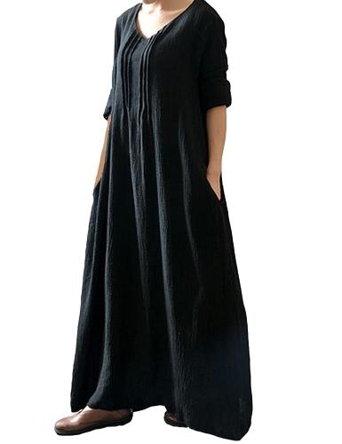 Осенние женские повседневные свободные платья Твердые V шеи с длинным рукавом хлопок Ретро Бохо Длинные Макс платье черный / фиолетовый / красный фото