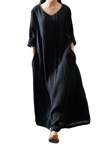 Autumn Women Casual Loose Dress Solid V Neck manga comprida algodão Retro Boho Long Maxi Dress Preto / Roxo / Vermelho