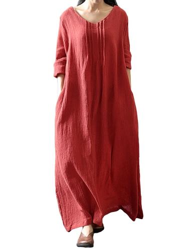 Otoño Mujer Casual vestido suelto sólido cuello en V manga larga de algodón retro Boho Long Maxi vestido negro / púrpura / rojo