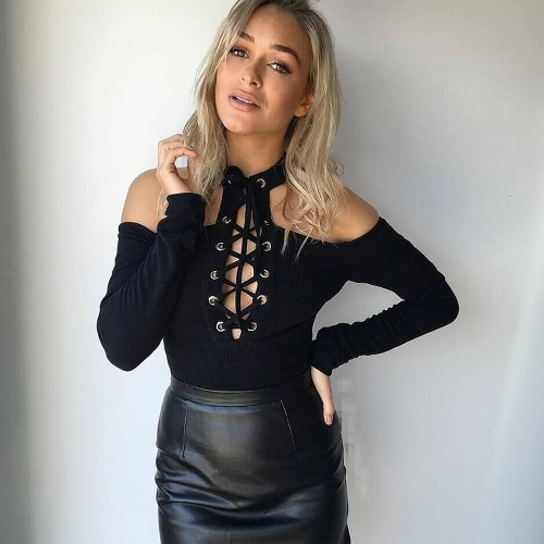 Sexy Mulheres Jumpsuit Cut Out Shoulder Lace Up Mangas Longas Zipper Solid Color Casual Short Romper