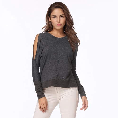 Mulheres Sexy Outono Top mangas compridas T-Shirt Cold Shoulder Round Neck Loose Tee Top Dark Grey