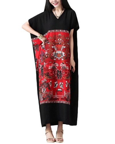 Women Plus Size Loose Dress Vintage Print Casual Manga curta manga curta V-Neck estilo chinês Maxi Dresses