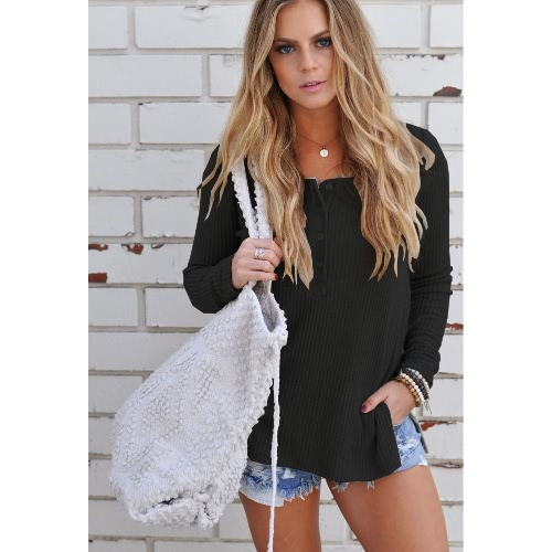 New Fashion Autumn Knitted Sweater Button Up Side Split Round Neck Long Sleeves Knitwear Pullover