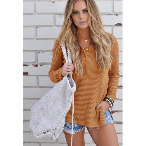 Nuevo otoño de la moda hizo punto el botón del suéter encima de la fractura lateral del cuello redondo de las mangas largas del suéter de los géneros de punto
