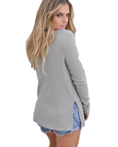 Новая мода Осенние трикотажные кнопки свитера вверх стороны сплит круглые шеи с длинными рукавами трикотажные пуловеры фото