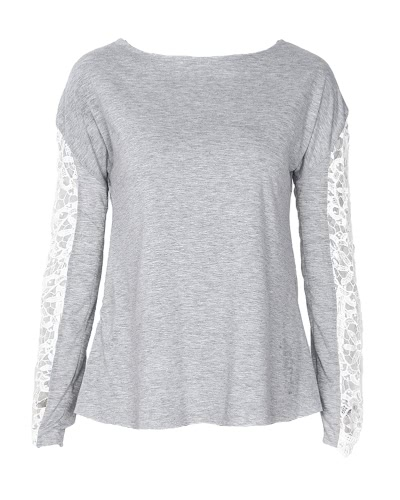 TOMTOP / Women T-shirt Floral Crochet Lace Splicing Ombros caídos Hollow Out Long Sleeve Casual Tops