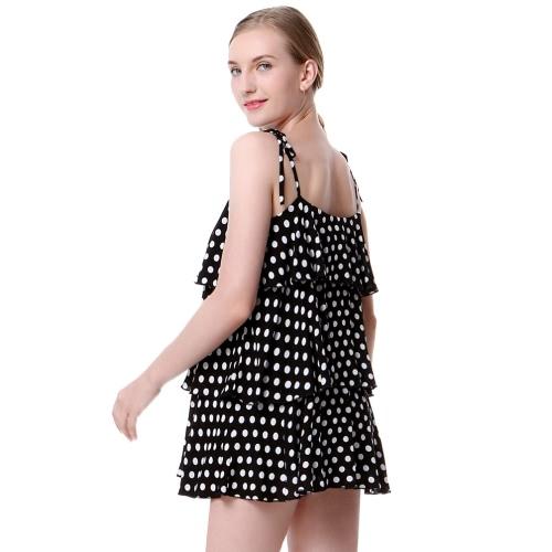 New Fashion Women Polka Dot Print Mini Dress Spaghetti Strap Frill Trim Open Back Camis Dress Black