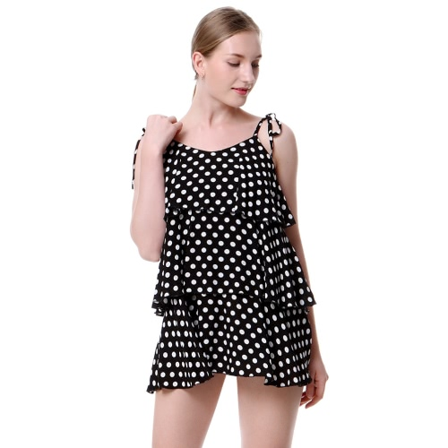 New Fashion Women Polka Dot Print Mini-vestido de costura de espaguete Frill Trim Open Back Camis Dress Black