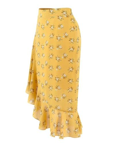 New Retro Women Floral Chiffon Skirt Asymmetric Frill Trim High Waist Side Zipper Midi Skirt Yellow